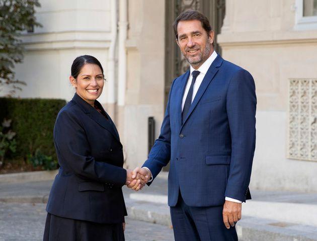 French Interior Minister Christophe Castaner, right, welcomes his British counterpart Priti Patel prior...