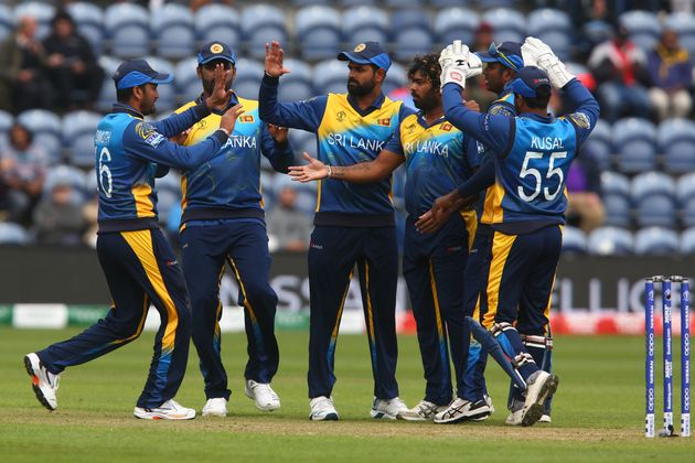 Sri Lanka's Lasith Malinga, captain Dimuth Karunaratne and teammates during the 2019 Cricket World