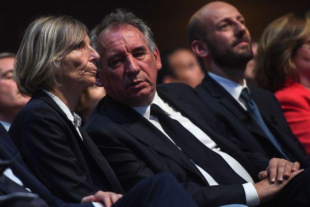 Marielle de Sarnez et François Bayrou lors d'un meeting de La République en Marche en février...