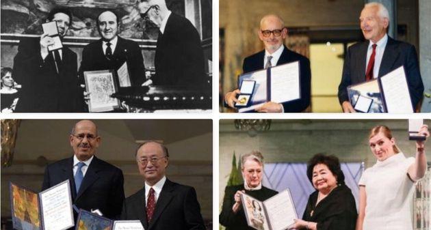 Premi Nobel per la Pace sul disarmo nucleare. Da sinistra in alto: 1985. Bernard Lown e Evgueni Chazov....