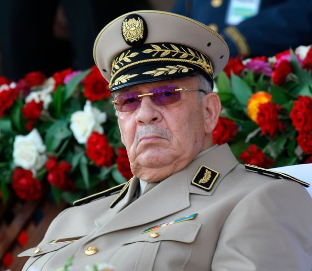 Algerian chief of staff Gen. Ahmed Gaid Salah presides a military parade at the Cherchell