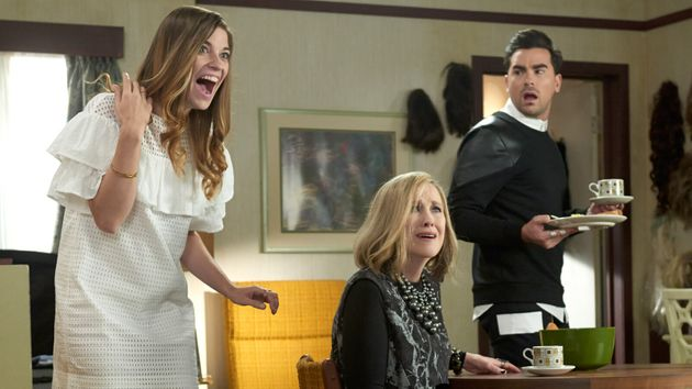 Annie Murphy, Catherine O'Hara and Daniel Levy on