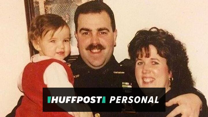Emily Thomas with her dad and mom. This photo was taken after her father became a NYPD detective in 1998.