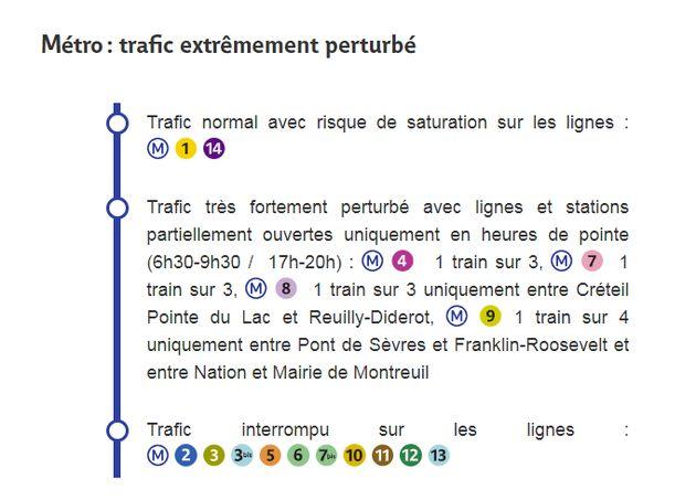 Les prévisions de la RATP à l'occasion de la grève contre la réforme des retraites de ce vendredi 13