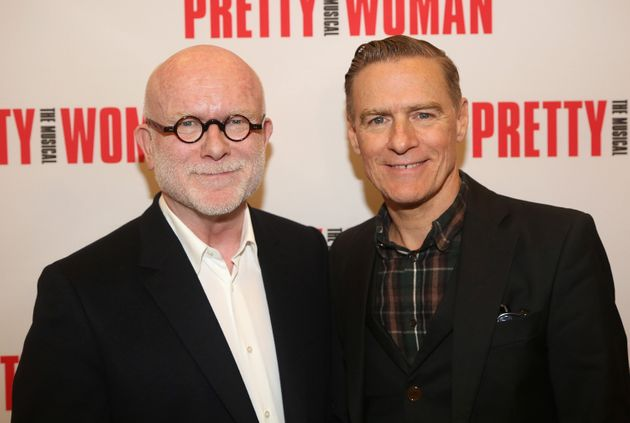 Jim Vallance, left, and Bryan Adams appear at a photo opportunity in New York City on Jan. 22,