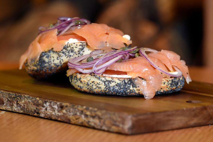 The Montreal-style bagels at Woodgrain in Boulder, Colorado, make a great canvas for lox.