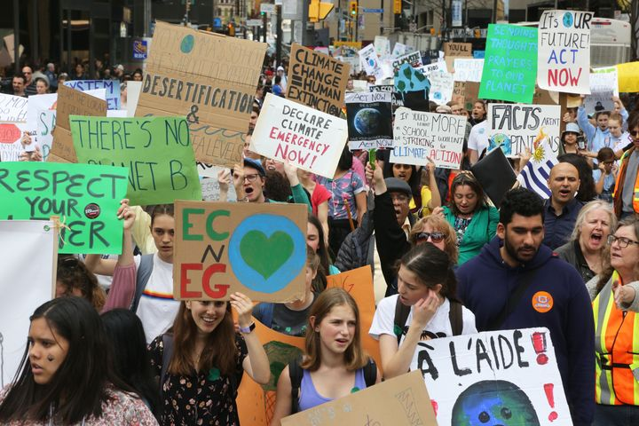 One of the top issues for young voters this federal election is climate change, polls suggest. In this photo, hundreds of Canadian youth protest in Toronto on May 24, 2019.