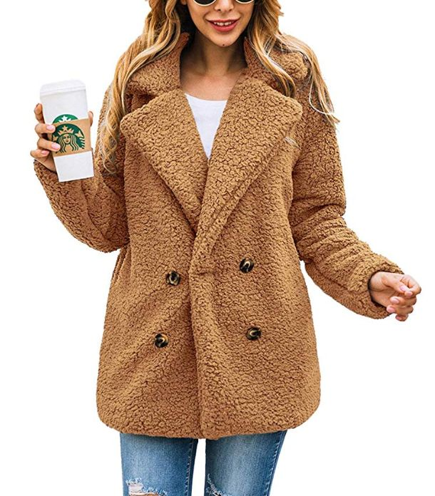 This teddy coat comes in five colors, and is available in a zip-up version.