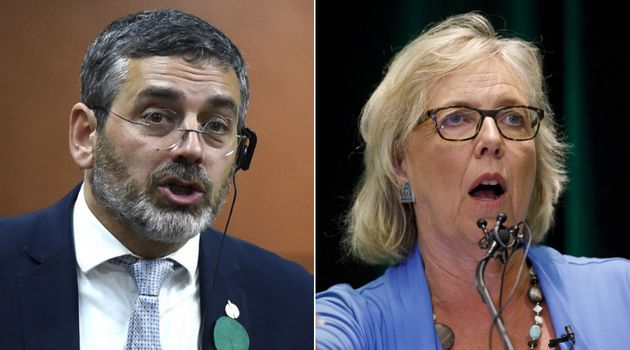 Green leader Elizabeth May says her candidate Pierre Nantel, left, is not a Quebec