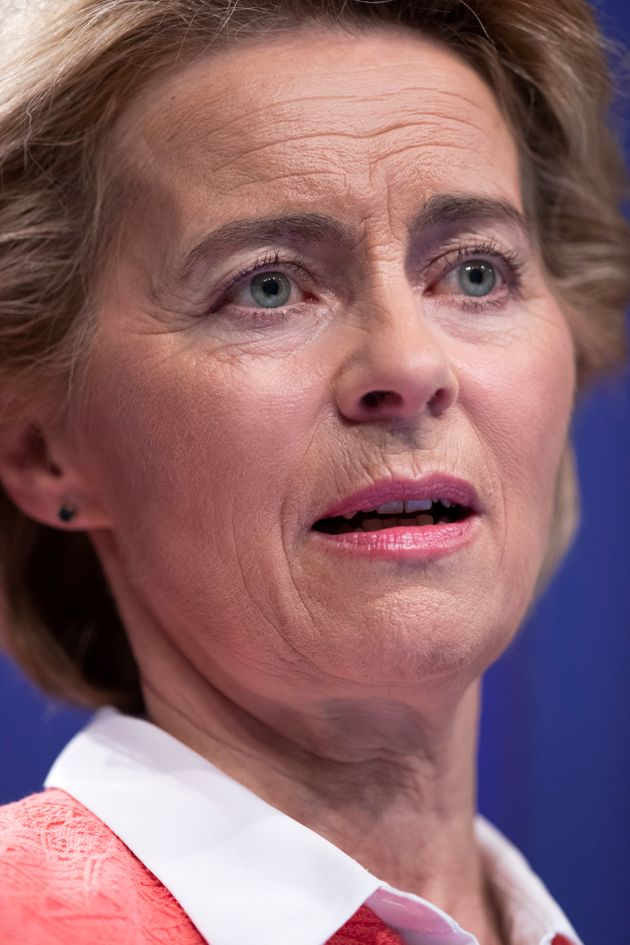 Incoming European Commission President Ursula von der Leyen speaks during a media conference at EU headquarters...