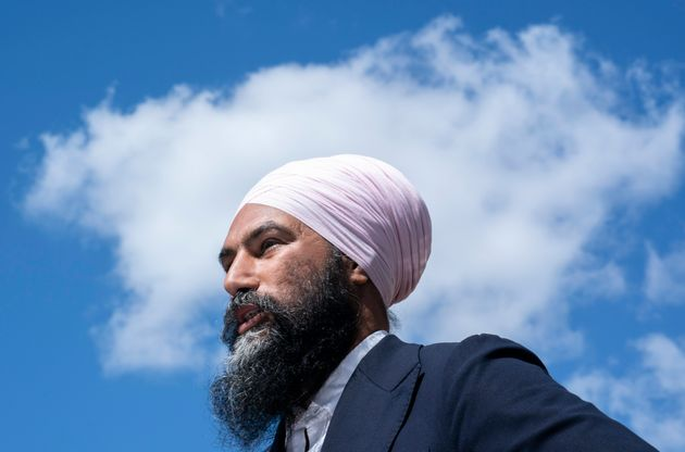 NDP Leader Jagmeet Singh attends a news conference presenting a new candidate in Montreal on Sept. 5,