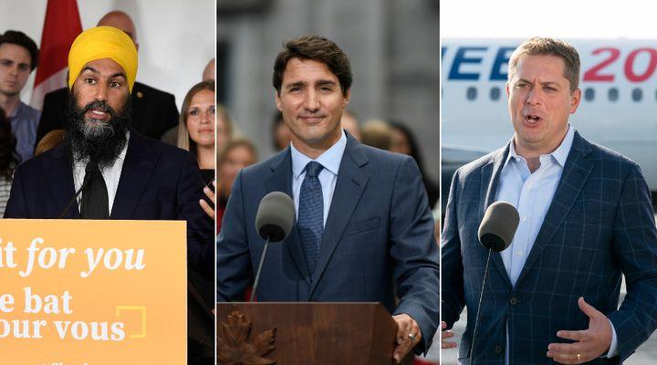 Federal NDP Leader Jagmeet Singh, Liberal Leader Justin Trudeau, and Conservative Leader Andrew Scheer speak to media on Sept. 11, 2019.