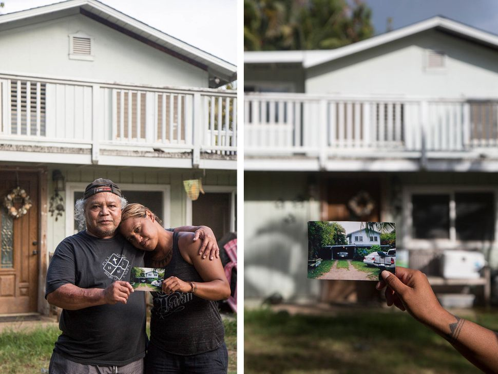 Left: Steven Oiph poses for a portrait with his youngest daughter, Kaʻiulani Manuwai, in the yard of their Kailua home. Right