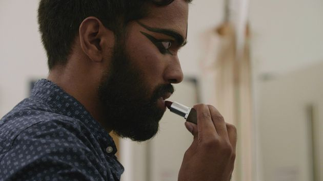 Male Bharatanatyam dancers use makeup during performances to emphasize their facial
