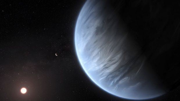 This artist's rendering provided by University College London Centre for Space Exochemistry Data researchers shows Exoplanet K2-18b, foreground, its host star and an accompanying planet in this system. On Wednesday, the scientists announced they discovered water on the planet outside our solar system that has temperatures suitable for life.