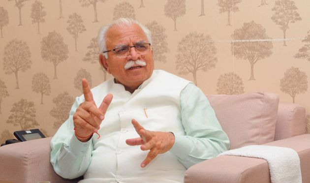Haryana Chief Minister Manohar Lal Khattar speaks during an interview at CM House on July 2, 2019 in