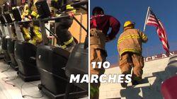 Ces pompiers montent des marches en hommage à leurs collègues morts le 11