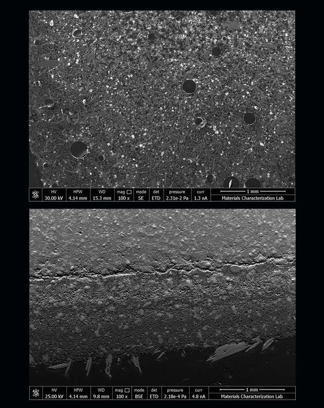 우주에서 만든 시멘트 반죽(위)과 지상에서 만든 시멘트 반죽(아래). 우주 시멘트반죽에 구멍이 많이