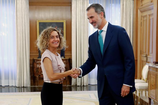 El rey Felipe VI ha recibido este jueves a la presidenta del Congreso, Meritxell Batet, en el Palacio...