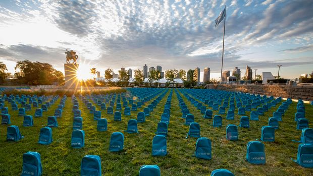 On 8 September 2019, a UNICEF installation highlighting the grave scale of child deaths in conflict during 2018  on the North Lawn at the United Nations Headquarters.