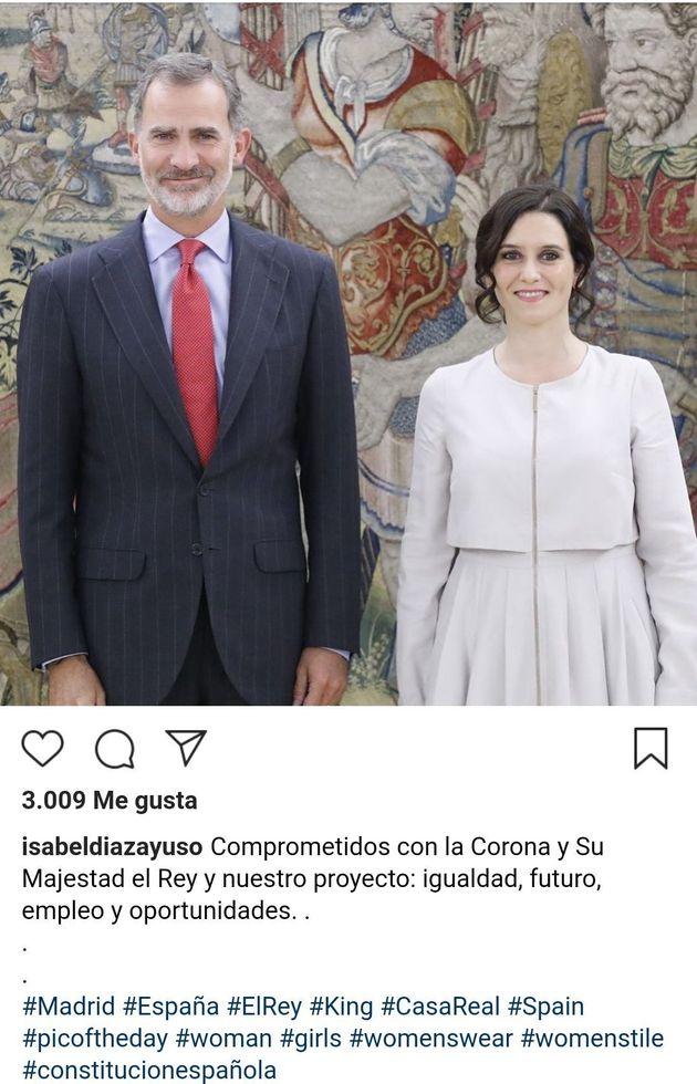 Publicación de Díaz Ayuso en Instagram tras verse con el