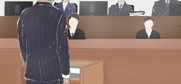 証言台についた優里被告の父親=2019年9月6日、東京地裁