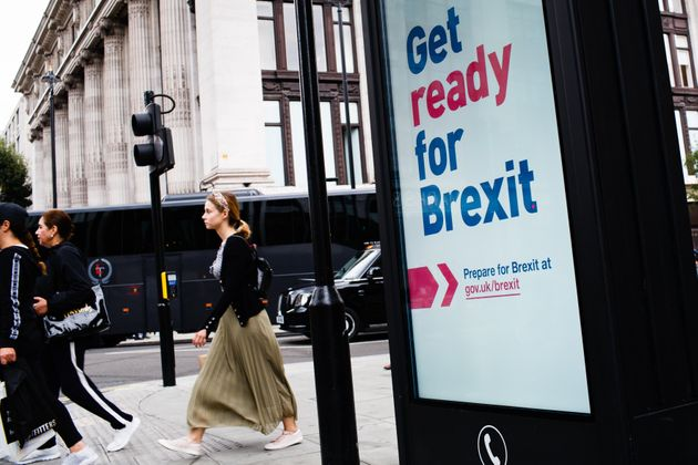 A 'Get ready for Brexit' sign in central