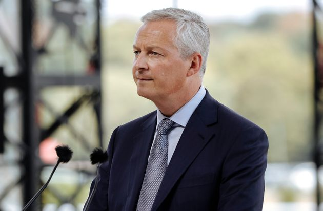 French Finance Minister Bruno Le Maire delivers a speech at a business meeting in Paris, Wednesday, Aug....