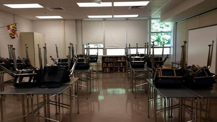 Lamb's classroom before she worked her magic on it.