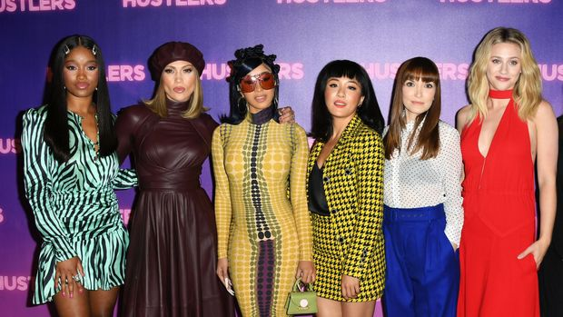 "LOS ANGELES, CALIFORNIA - AUGUST 25:  Keke Palmer, Cardi B, Jennifer Lopez, Constance Wu, Lorene Scafaria and Lili Reinhart attend the Photo Call For STX Entertainment's ""Hustlers"" at Four Seasons Los Angeles at Beverly Hills on August 25, 2019 in Los Angeles, California. (Photo by Jon Kopaloff/FilmMagic)"