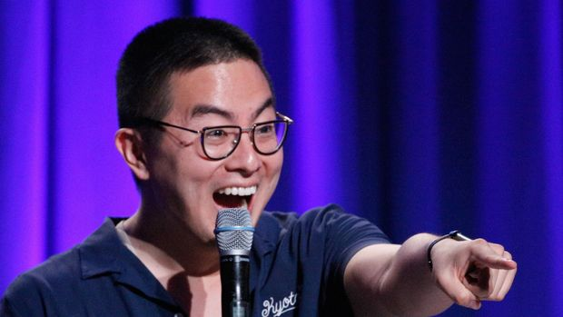 SAN FRANCISCO, CA - JUNE 02:  Bowen Yang performs onstage during 'The Michelle Collins Show: Live!' in the Room 415 Comedy Club during Colossal Clusterfest at Civic Center Plaza and The Bill Graham Civic Auditorium on June 2, 2018 in San Francisco, California.  (Photo by FilmMagic/FilmMagic)