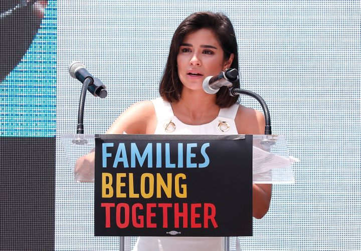 WASHINGTON, DC - JUNE 30: Actor Diane Guerrero speaks at Families Belong Together Rally In Washington DC Sponsored By MoveOn, National Domestic Workers Alliance, And Hundreds Of Allies.