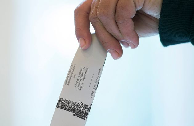 File photo of a voter casting a ballot in the riding of Vaudreuil-Soulanges, west of Montreal, on election...