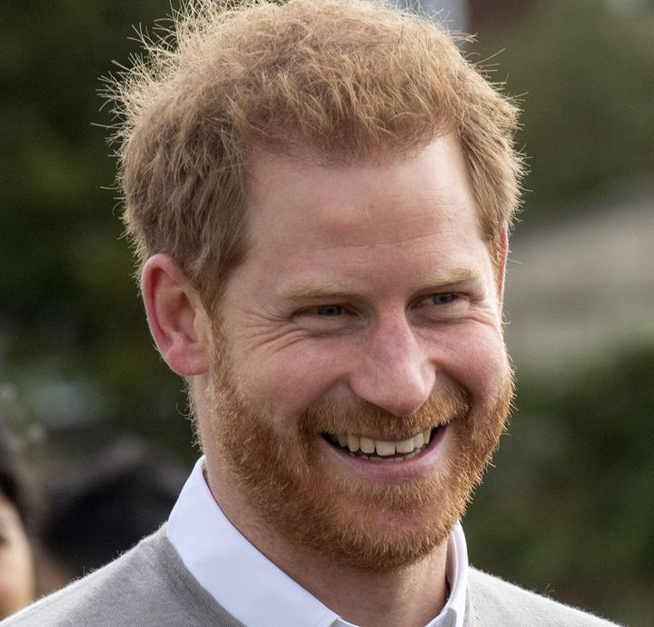 Prince Harry smiles during a visit to the Rugby Football Union at Lealands High School in Luton on Sept. 12, 2019.