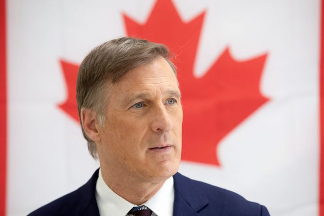 People's Party of Canada Leader Maxime Bernier speaks to the media in candidate Renata Ford's campaign...