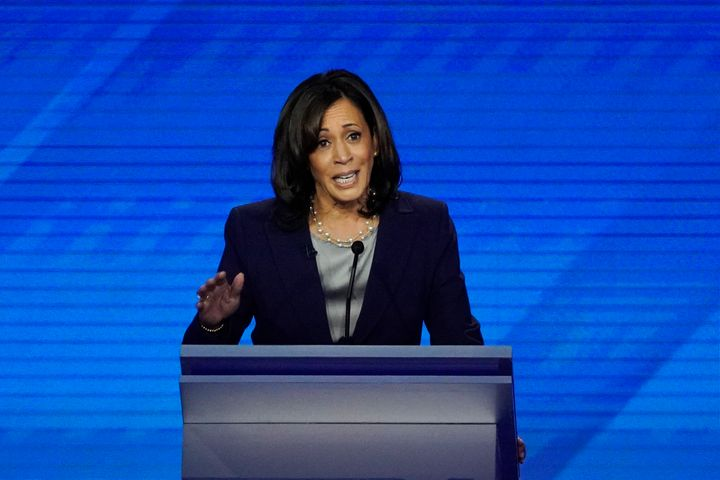 Sen. Kamala Harris (D-Calif.) speaks at the Democratic presidential primary debate hosted by ABC at Texas Southern University