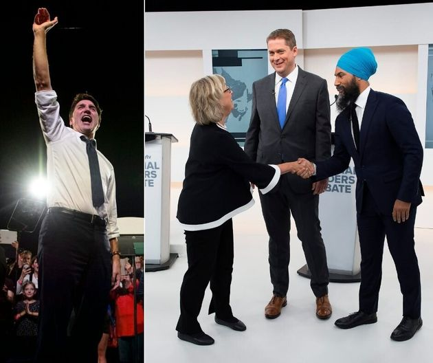 A composite image showing Justin Trudeau at a rally on the left. On the right, Elizabeth May, Andrew...