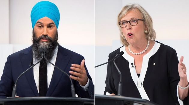 NDP Leader Jagmeet Singh and Green Party Leader Elizabeth May are shown at the Maclean's/Citytv National...