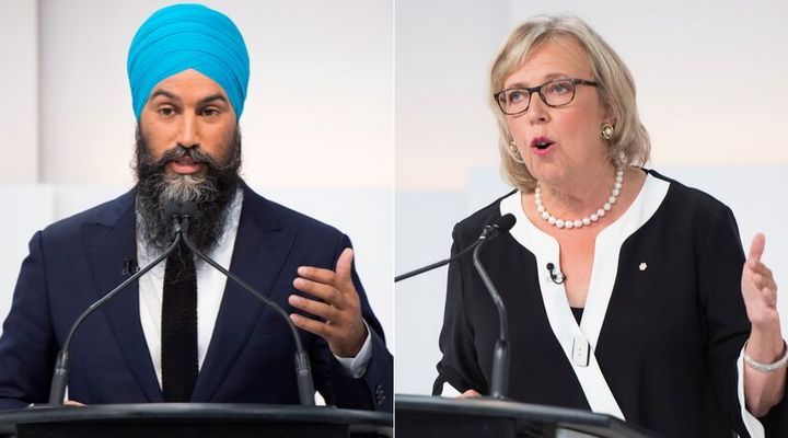 NDP Leader Jagmeet Singh and Green Party Leader Elizabeth May are shown at the Maclean's/Citytv National Leaders Debate in Toronto on Sept. 12, 2019.