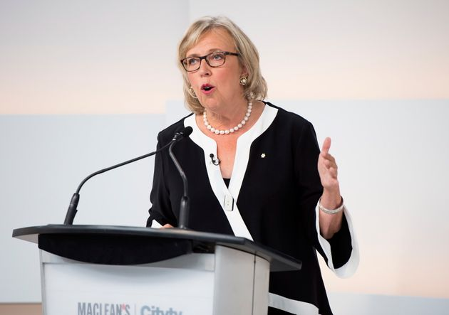 Green Party Leader Elizabeth May speaks during the Maclean's/Citytv National Leaders Debate in Toronto...