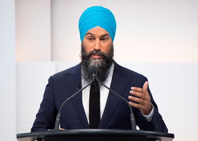 NDP Leader Jagmeet Singh speaks during the Maclean's/Citytv National Leaders Debate in Toronto on Sept....