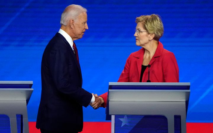 Sharing the presidential debate stage for the first time, former Vice President Joe Biden and Sen. Elizabeth Warren (D-Mass.)