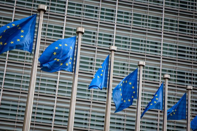 European flags in front of the Berlaymont building in Brussels,