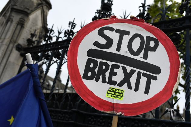 Anti Brexit demonstrators gather outside the Houses of Parliament, London, on September 12, 2019. Ministers...