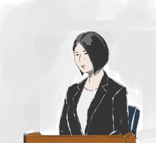反応がなくじっと座っていた船戸優里被告=2019年9月6日、東京地裁