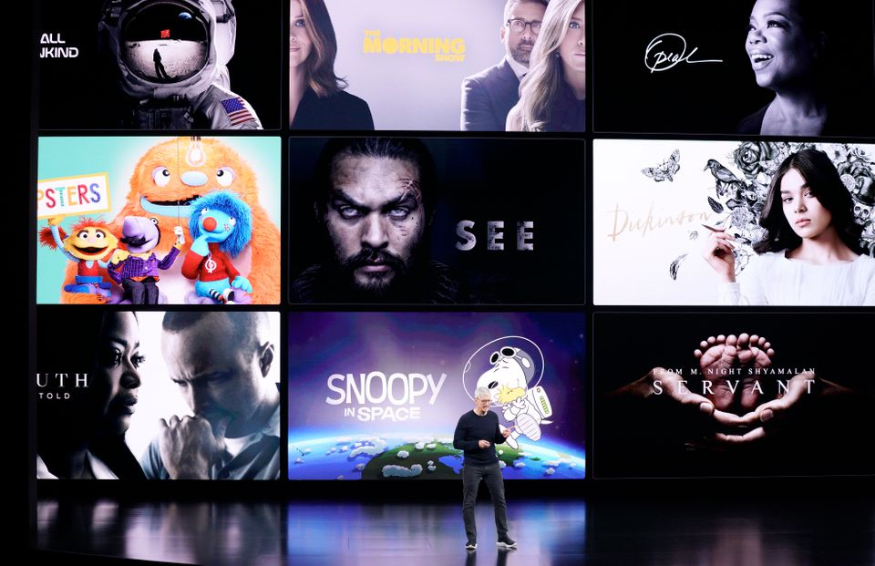 Apple CEO Tim Cook speaks about the new shows on Apple TV at the Steve Jobs Theater during an event to...