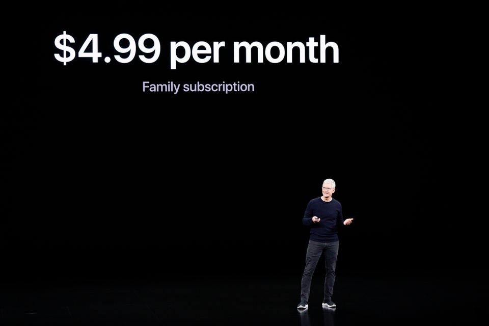 Apple CEO Tim Cook announces Apple TV+ during an new product event Tuesday, Sept. 10, 2019, in Cupertino,...