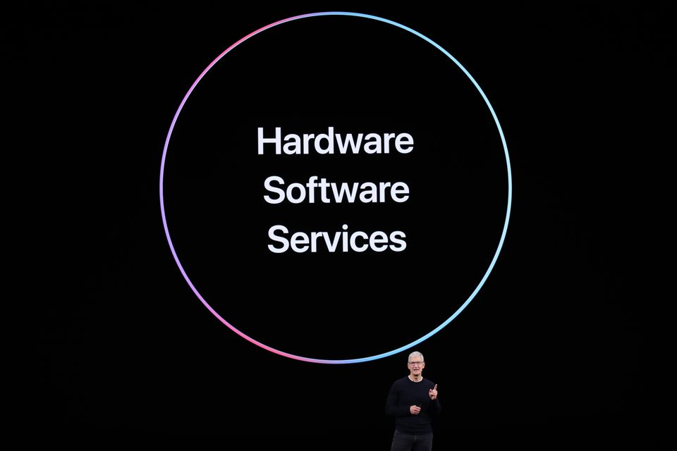 CUPERTINO, CALIFORNIA - SEPTEMBER 10: Apple CEO Tim Cook delivers the keynote address during an Apple...