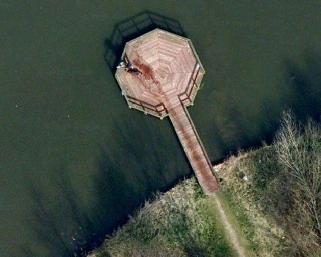 Not a murder: But some Google Earth users thought they'd stumbled across something grisly when this emerged...