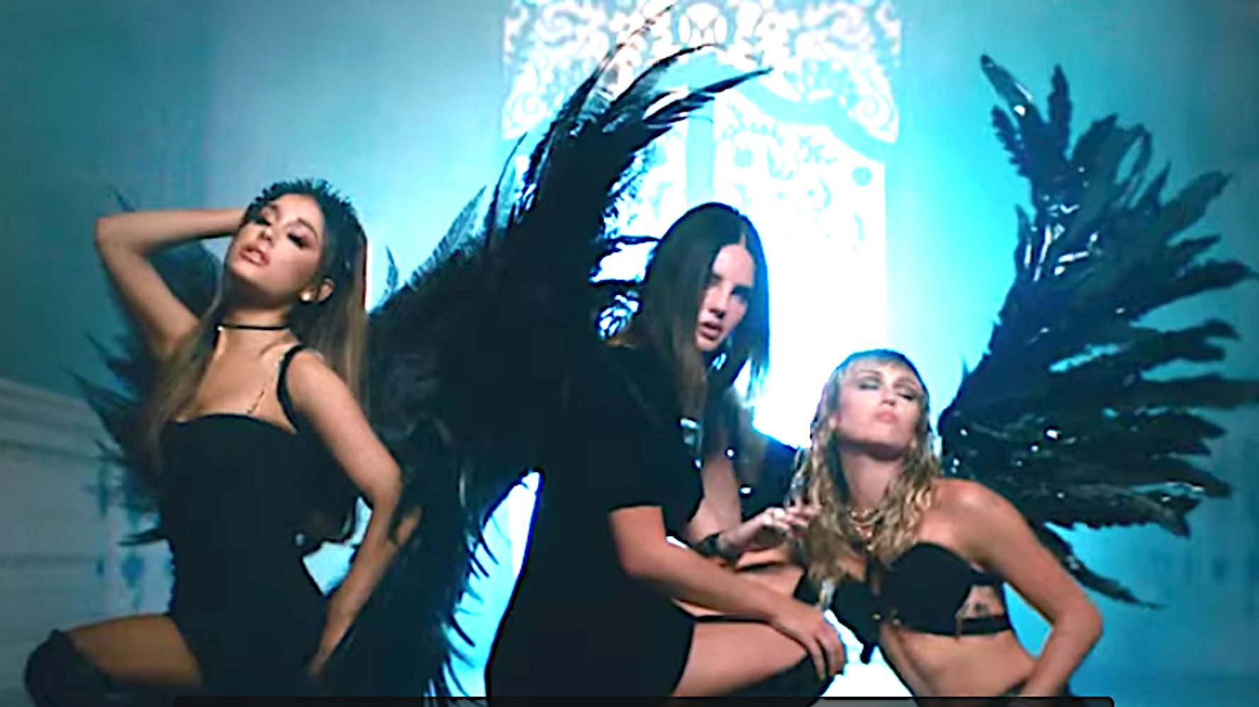 Westlake Legal Group 5d7b6188230000580552a4e9 Miley Cyrus, Ariana Grande, Lana Del Rey Soar In 'Don't Call Me Angel'